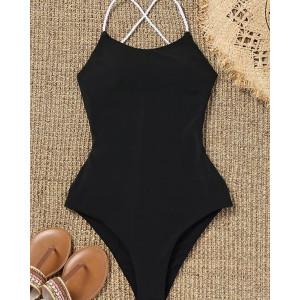 Слитный чёрный купальник с невероятной спинкой