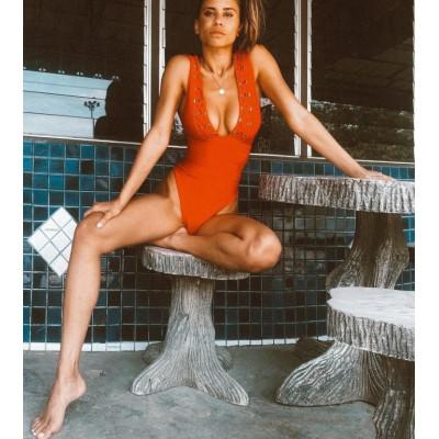 Слитный купальник в ярко оранжевом цвете 1050