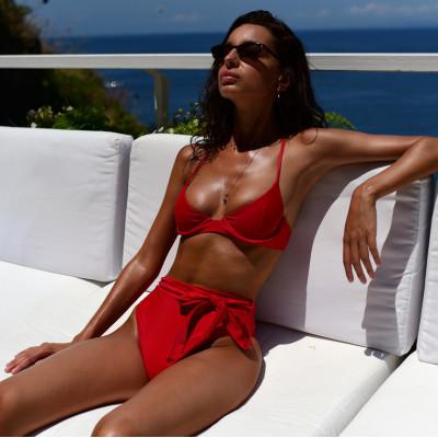 Красный завышенный купальник 2019 1108