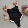 Слитный купальник с рюшей на плечиках в чёрном цвете 1042