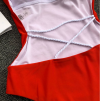 Слитный красный купальник с невероятной спинкой  1006