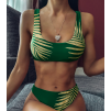 Стильный купальник топом в зелёном цвете 2020 1159