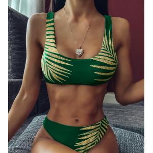 Стильный купальник топом в зелёном цвете 2020