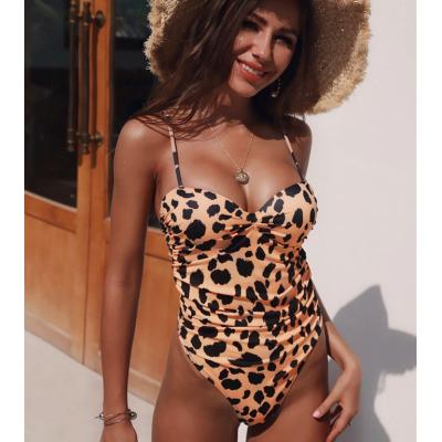Сдельный тигристый купальник с чашками 2020 1164