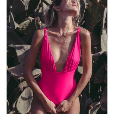 Розовый слитный купальник 2020 1177