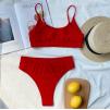 Красный завышенный купальник с люрексом 1083