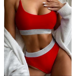 Красный завышенный купальник с люрексом