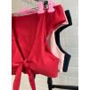 Стильный купальник с завышенной талией в красном 1011