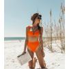 Трикотажный завышенный  купальник в оранжевом цвете 1133