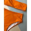 Оранжевая модель купальника с завышенным низом 1138