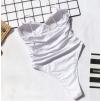 Сдельный белый купальник с чашками 1164
