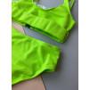 Салатовый завышенный купальник с защёлкой на лифе 1181