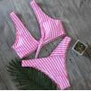 Розовый купальник в полосочку 1023
